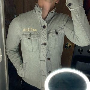 Abercrombie utility gray fleece jacket